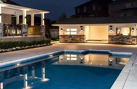 Limestone concrete pool decks